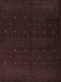 Dark Brown 8x11 Abstract Gabbeh Oriental Area Rug