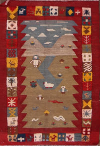 Tribal Kilim Sirjan Persian Wool Rug 3x4