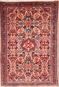 Floral Ivory 4x5 Malayer Hamedan Persian Area Rug