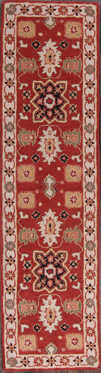Geometric Red Kazak Indian Oriental Hand-Tufted Runner Rug 3x10