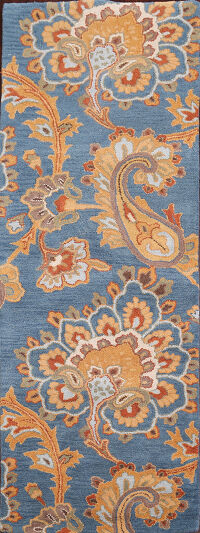 Light Blue Paisley Oushak Oriental Runner Rug 3x8