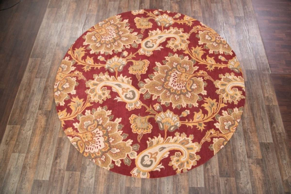 Hand-Tufted Paisley Floral Agra Oriental Round Rug 10x10