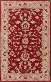 Hand-Tufted Floral Red Oriental Area Rug 5x8