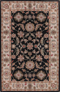 Hand-Tufted Traditional Floral Black Oushak Oriental Area Rug 5x8