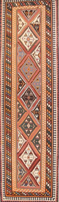 Geometric 5x19 Kilim Shiraz Persian Rug Runner