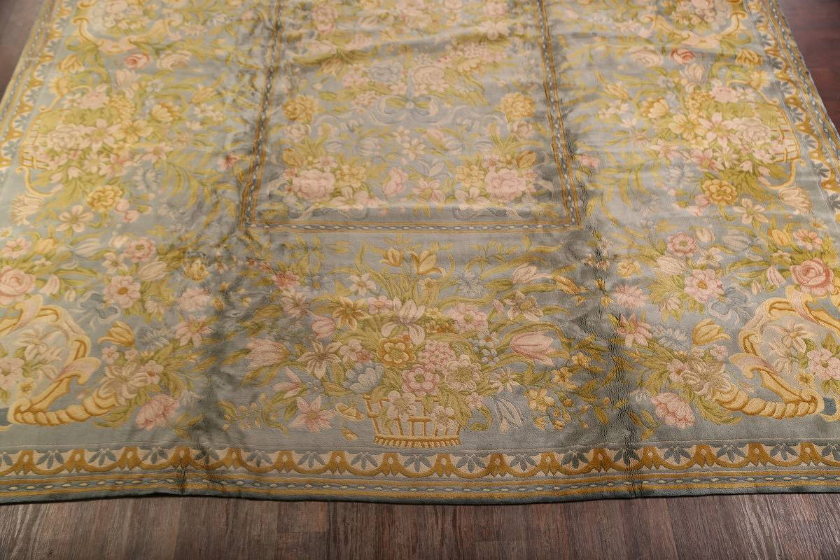 All-Over Floral Savonnerie French Oriental Area Rug 16x21 image 22