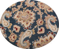 Floral Paisley Teal Blue Oushak Oriental Round Wool Rug 8x8