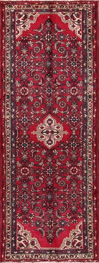 Geometric Red Hamedan Persian Hand-Knotted 4x9 Wool Runner Rug