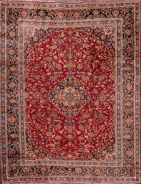 Traditional Floral Mashad Persian Hand-Knotted 10x12 Area Rug