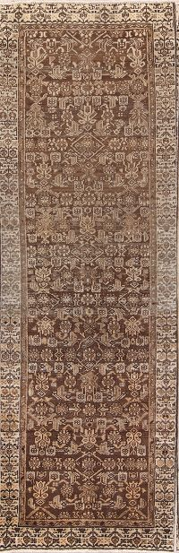 All-Over Geometric 3x10 Malayer Hamadan Persian Rug Runner