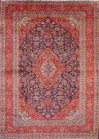 Navy Blue Traditional Floral Kashan Persian Area Rug 10x13