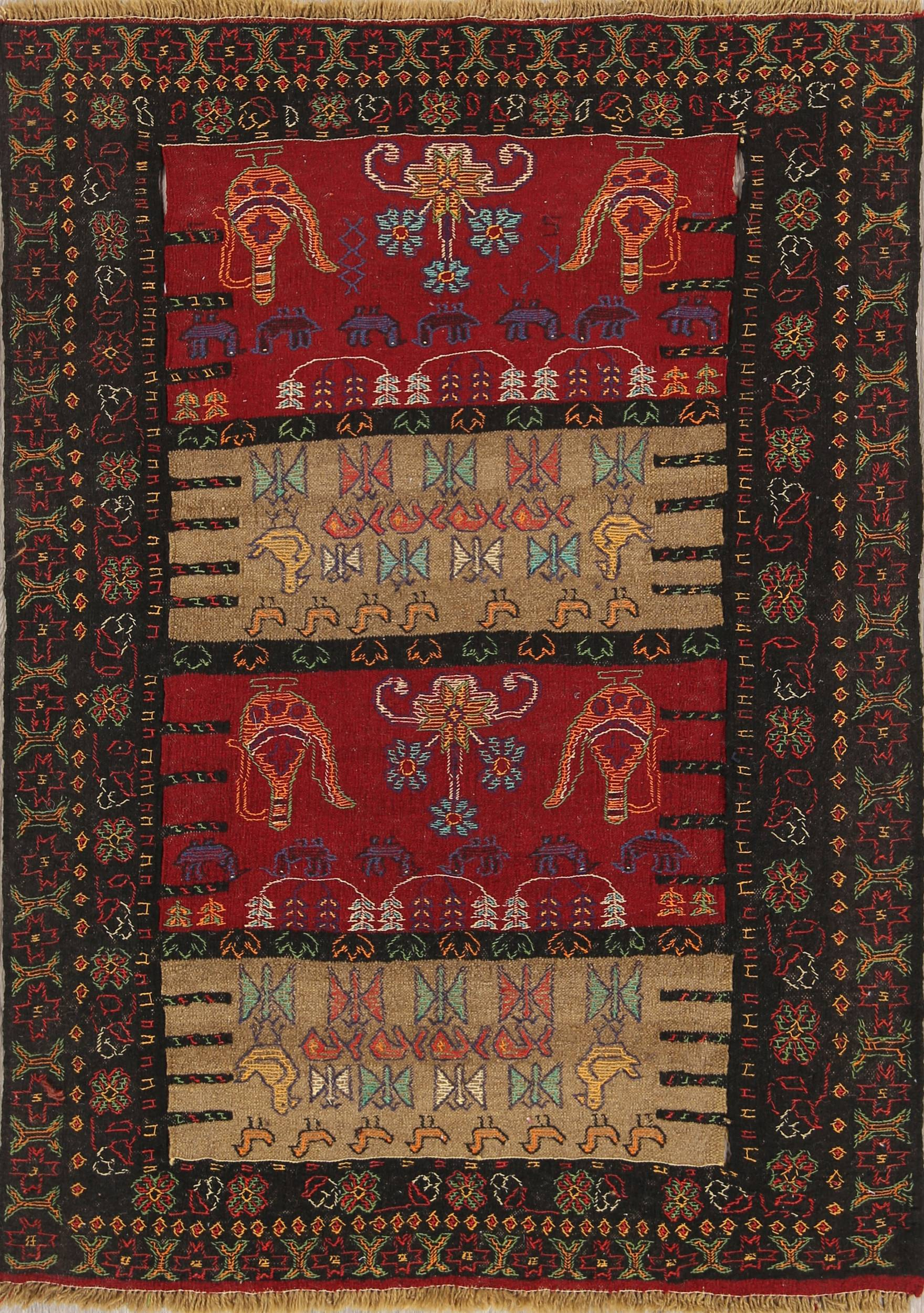 Geometric Tribal Kilim Shiraz Persian Hand-Woven Area Rug Wool 4x6