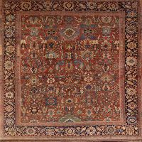 Pre-1900 Antique Sultanabad Persian Area Rug 12x12 Square