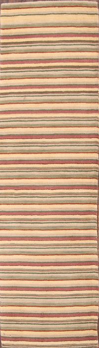 Striped Gabbeh Oriental Hand-Tufted Runner Rug 3x10