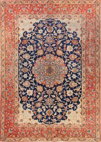 Antique Navy Blue Floral Isfahan Persian Area Rug 5x7