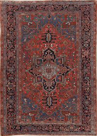 Pre-1900 Antique Geometric Red Heriz Persian Area Rug 7x10