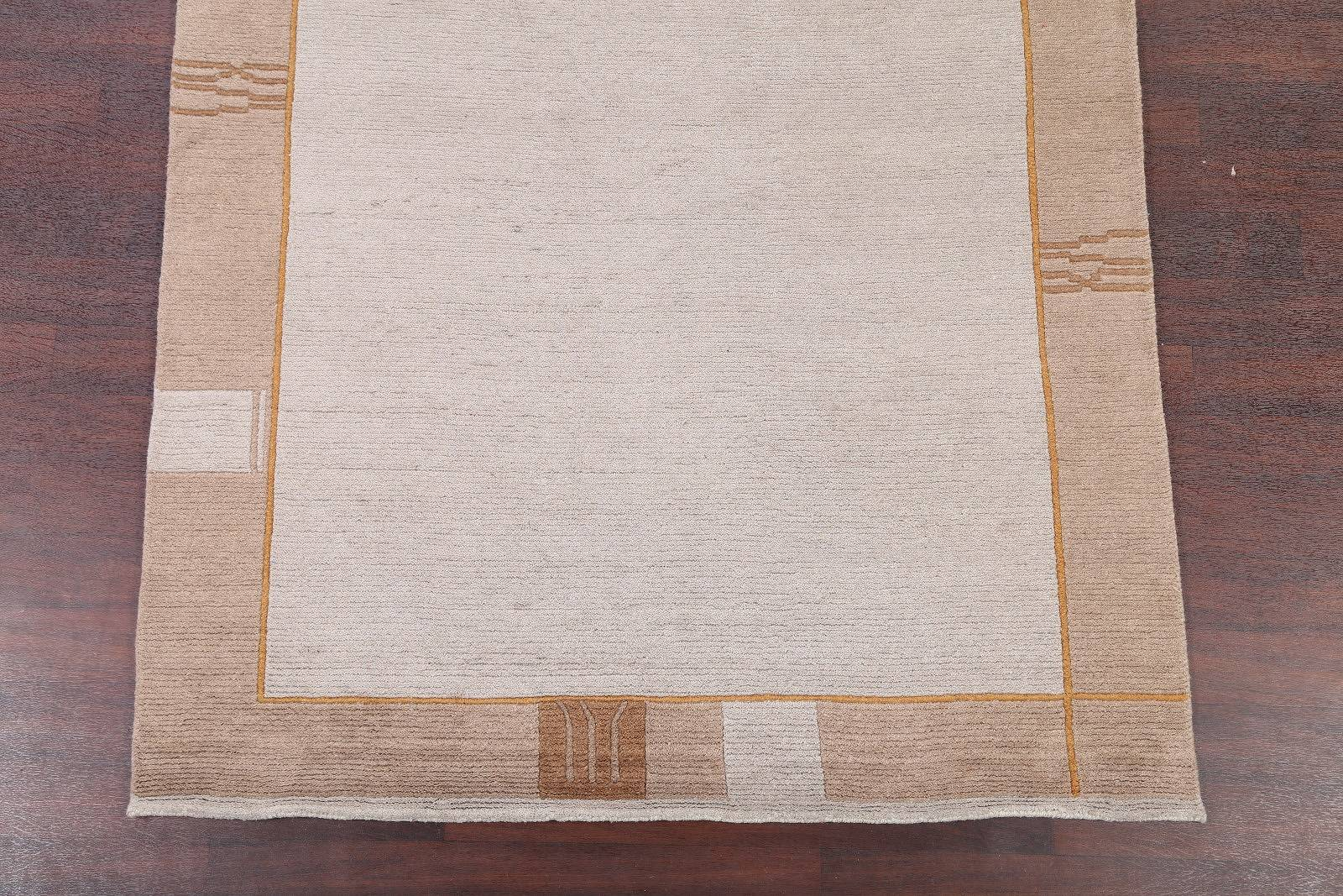 Ivory Modern Nepal Indian Oriental Area Rug 6x8