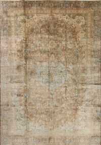 Antique Muted Distressed Kashan Persian Area Rug 9x13