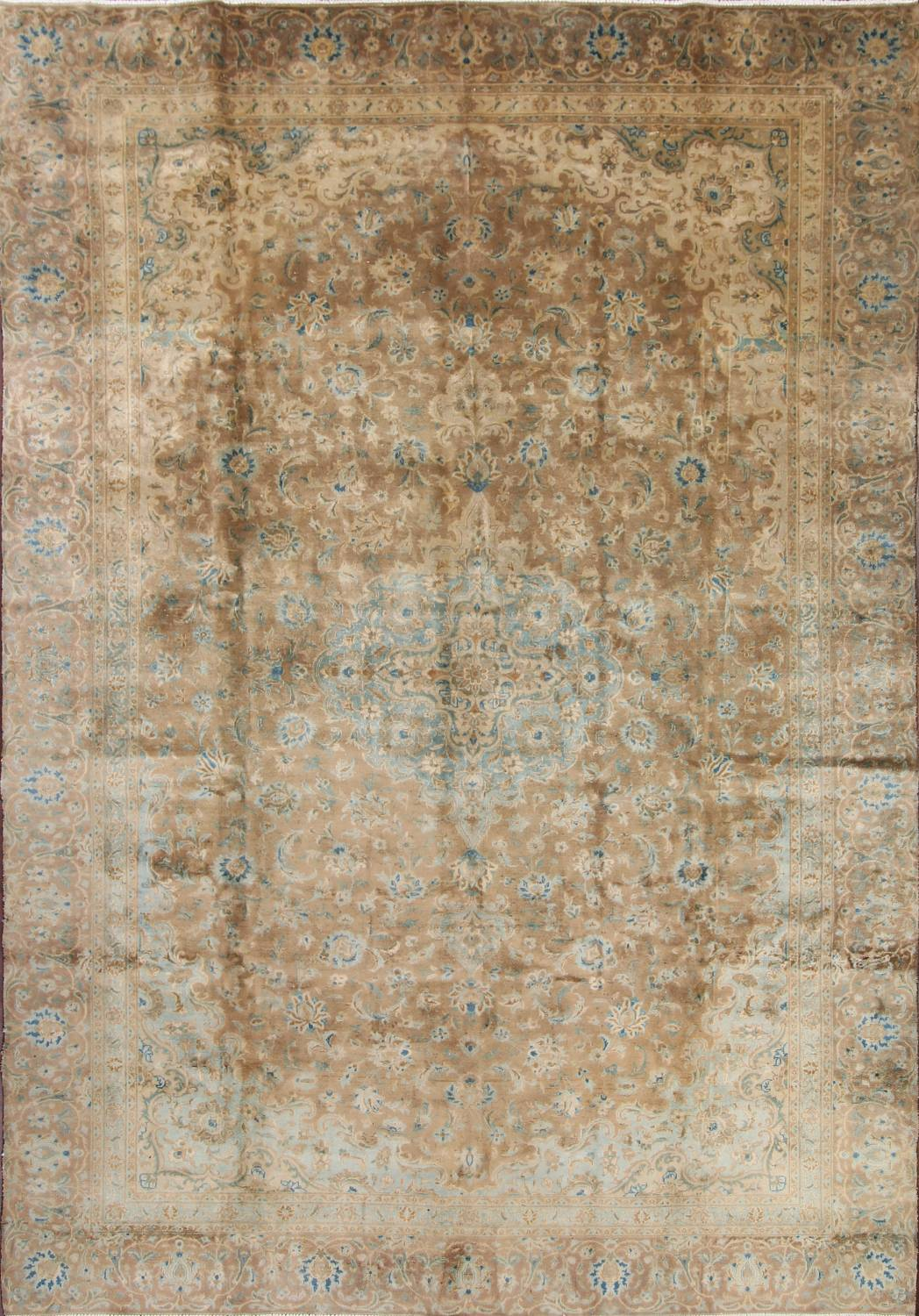 Antique Muted Distressed Kashan Persian Area Rug 9x13 image 1