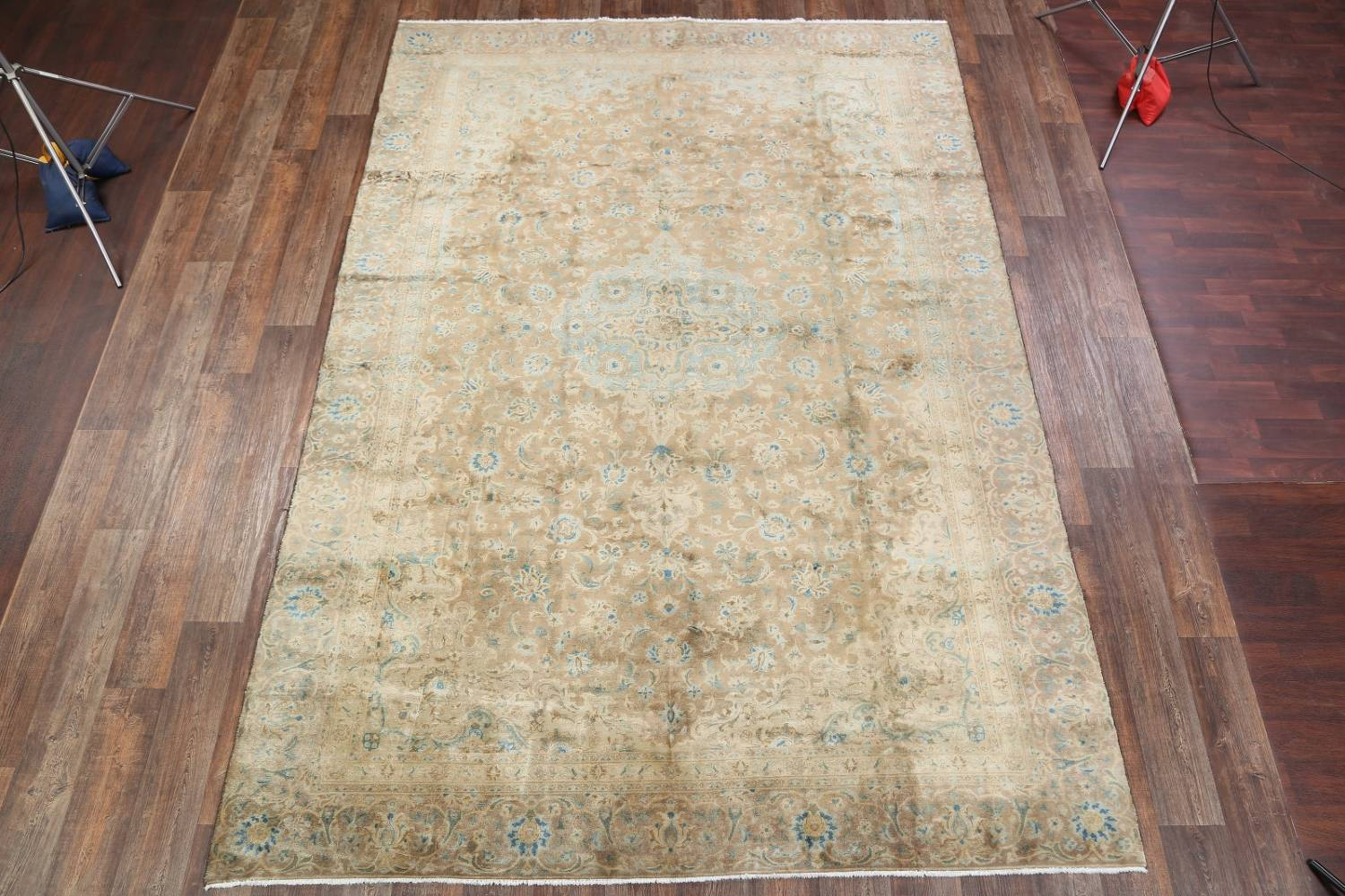 Antique Muted Distressed Kashan Persian Area Rug 9x13 image 2