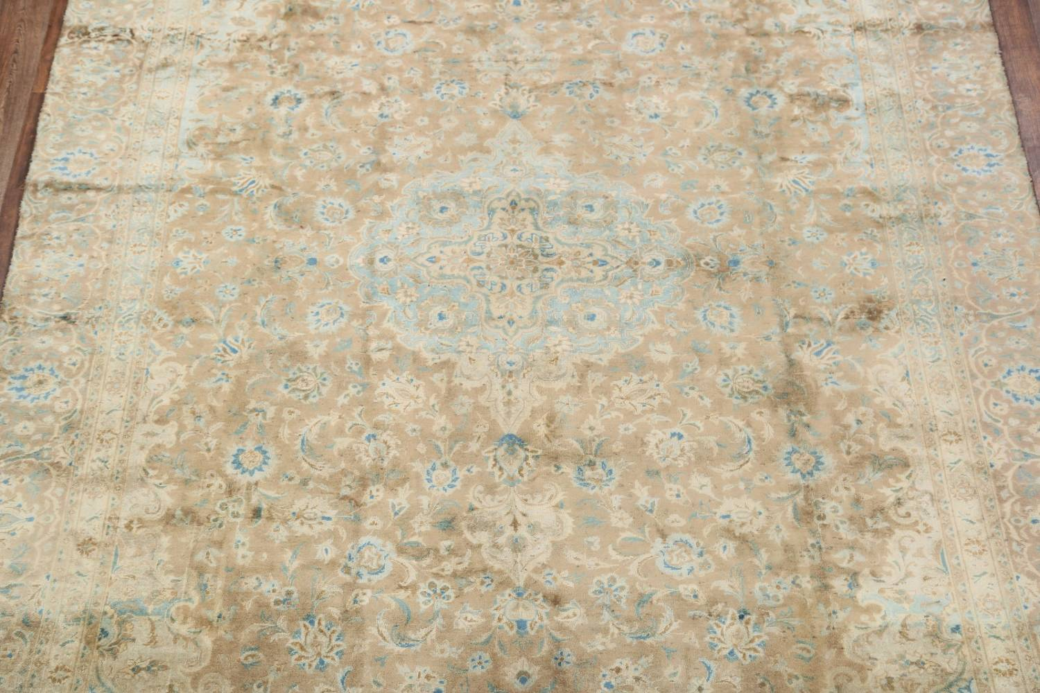 Antique Muted Distressed Kashan Persian Area Rug 9x13 image 3