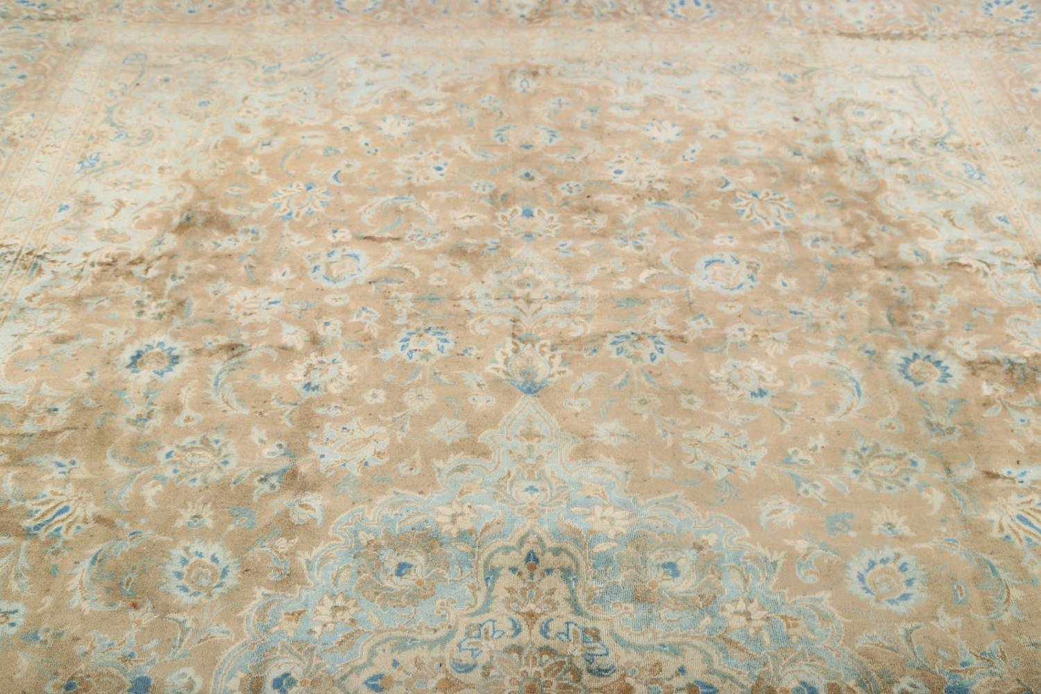 Antique Muted Distressed Kashan Persian Area Rug 9x13 image 18
