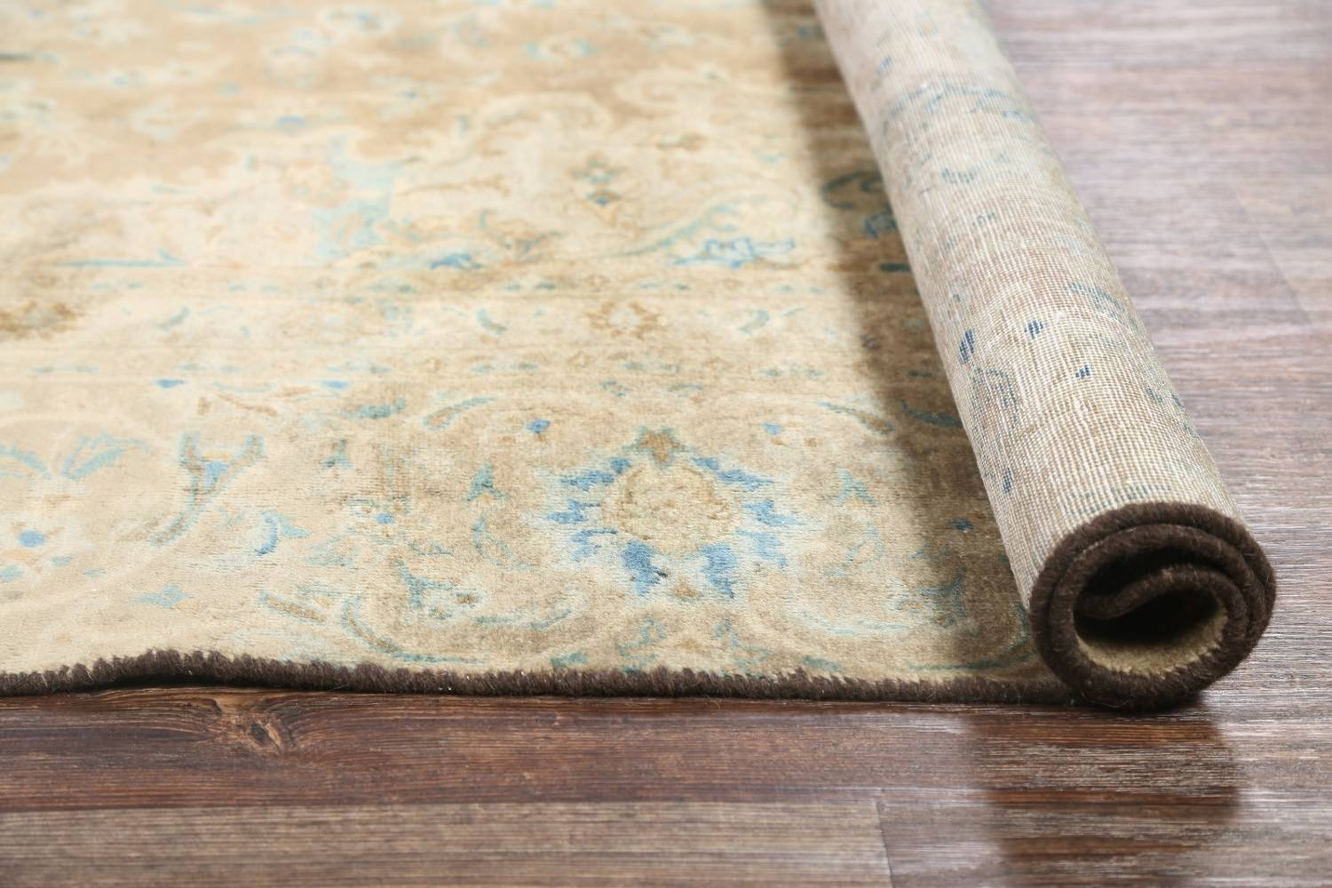 Antique Muted Distressed Kashan Persian Area Rug 9x13 image 24