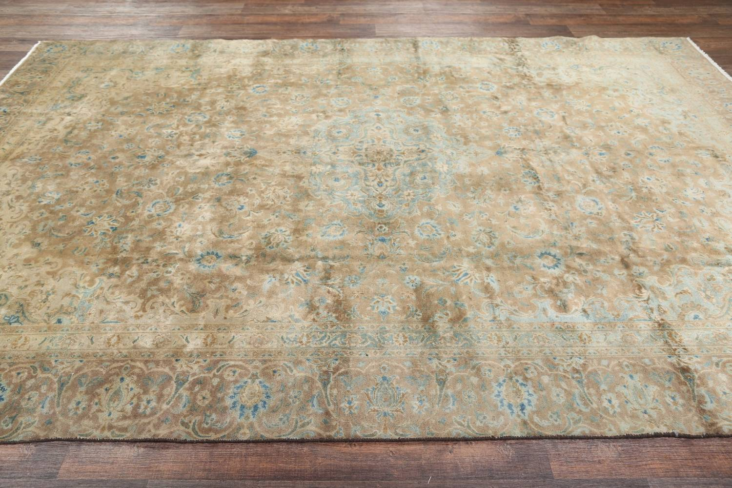 Antique Muted Distressed Kashan Persian Area Rug 9x13 image 20