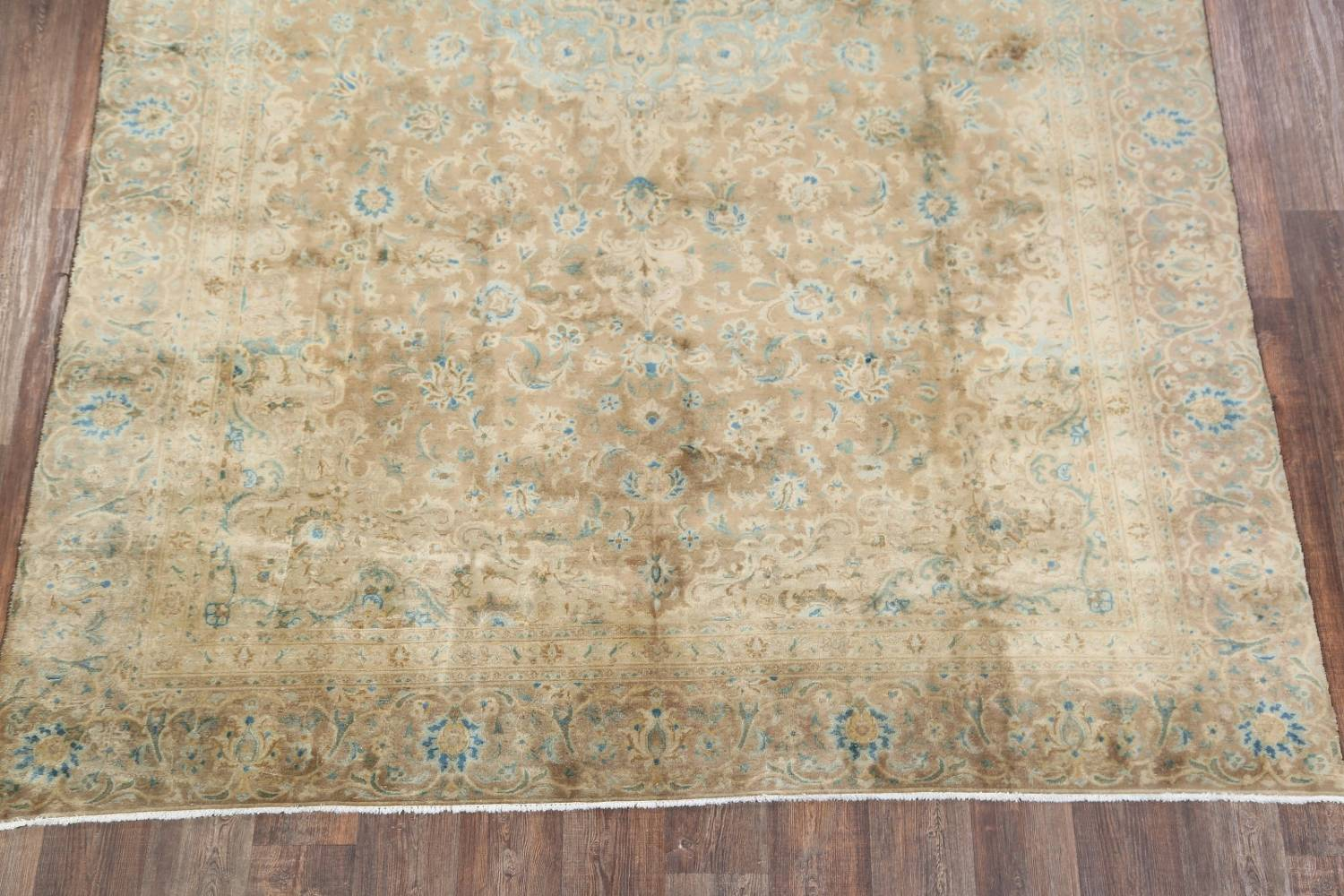 Antique Muted Distressed Kashan Persian Area Rug 9x13 image 8