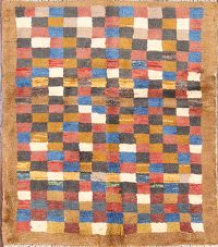 Checked Color-full Gabbeh Shiraz Persian Modern 4x5 Wool Rug