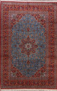 Traditional Vintage Floral Blue Kashan Persian Hand-Knotted 8x12 Area Rug