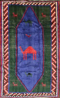 Animal Pictorial 5x8 Gabbeh Ghashghaei Persian Area Rug