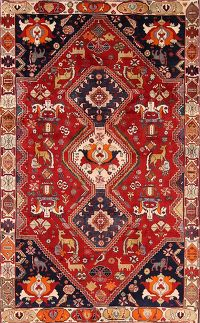 Animal Pictorial Abadeh Nafar Shiraz Persian Area Rug 6x9