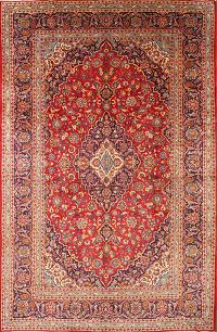 Traditional Floral Red 8x12 Kashan Persian Area Rug