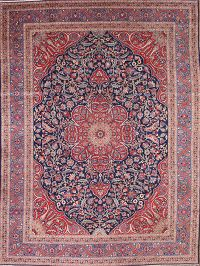 Vegetable Dye Antique Traditional Tabriz Persian Hand-Knotted 9x12 Area Rug