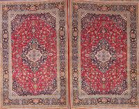 Set of 2 Floral Red Kashan Persian Area Rug 5x7