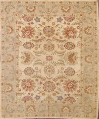 All-Over Floral Oushak Gold Pakistan 8x9 Oriental Area Rug