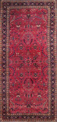 Pre-1900 Palace Size Antique Maroon 9x18 Kerman Lavar Persian Area Rug