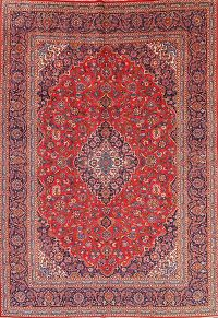 Traditional Floral Kashan Persian Hand-Knotted 9x13 Area Rug