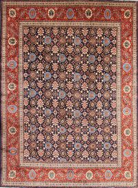 All-Over Floral Navy Blue Tabriz Persian Area Rug 10x13