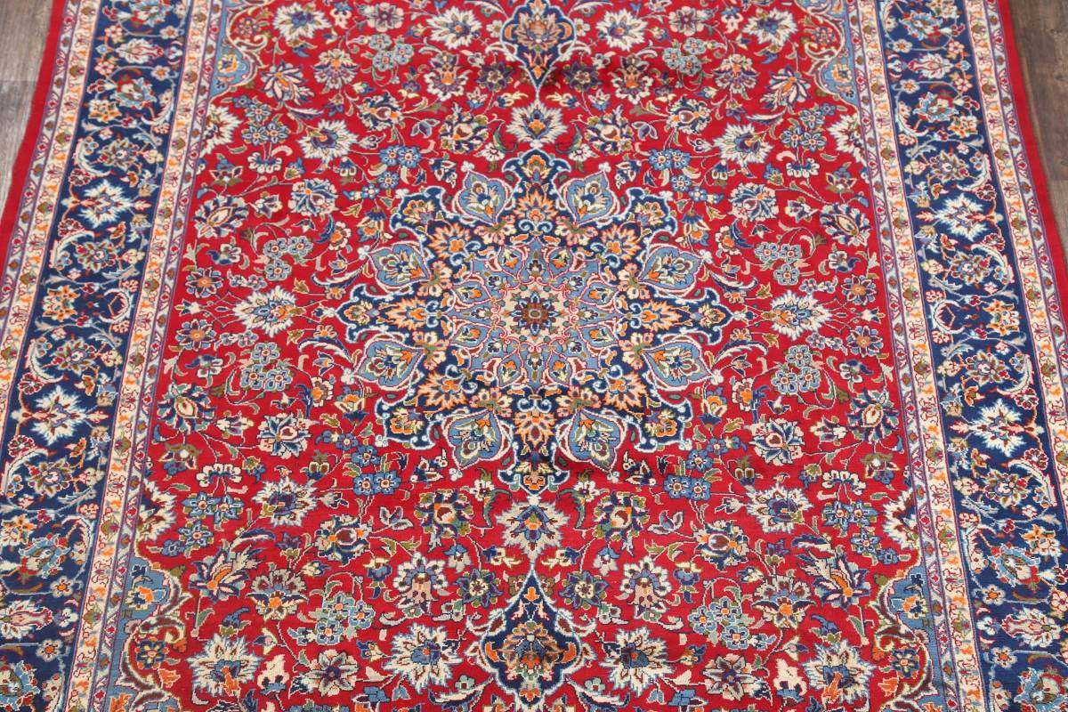Floral Red Isfahan Persian Area Rug 8x13 image 3