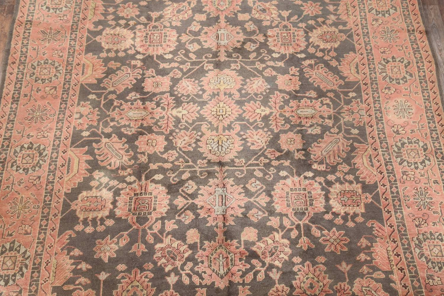 Fossil Black All-Over Muted Antique 9x11 Oushak Turkish Oriental Area Rug image 3