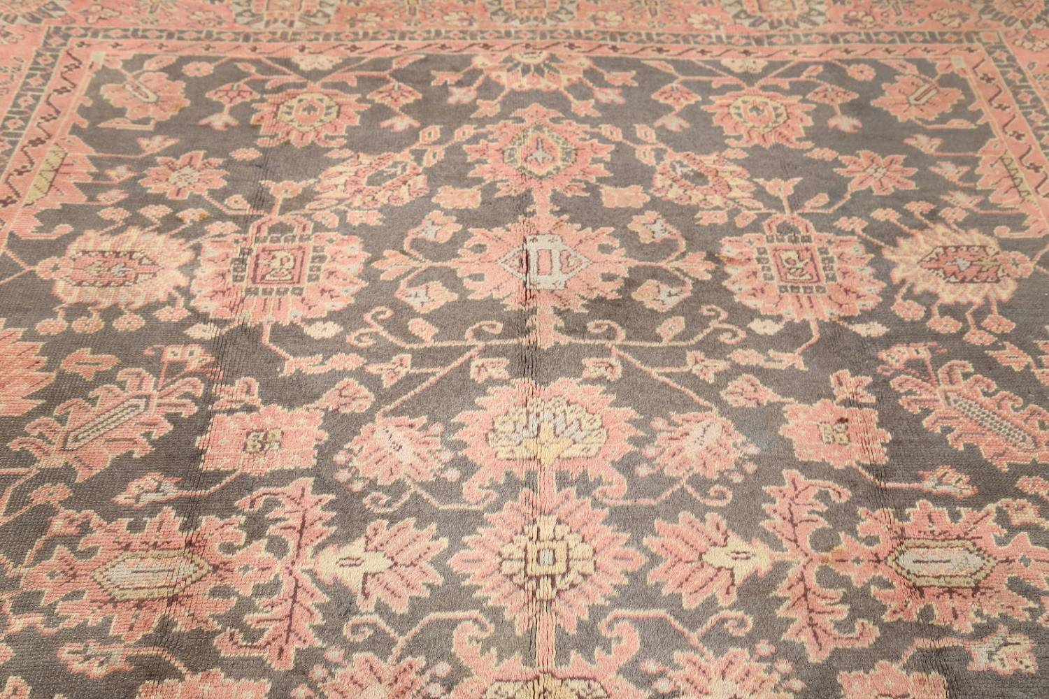Fossil Black All-Over Muted Antique 9x11 Oushak Turkish Oriental Area Rug image 7