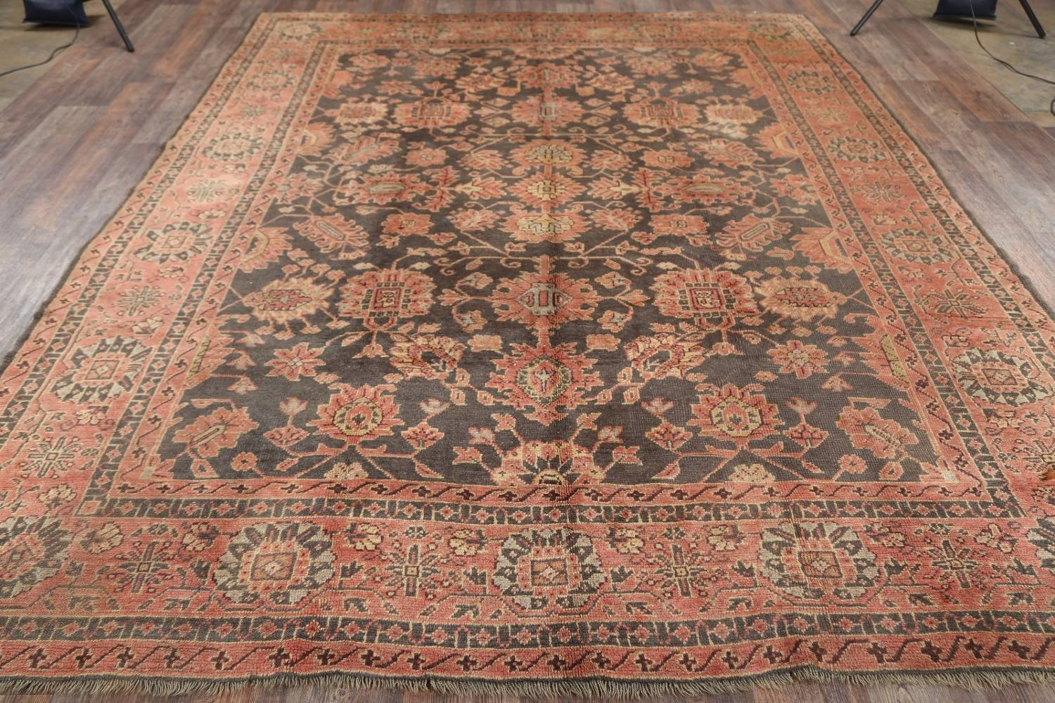 Fossil Black All-Over Muted Antique 9x11 Oushak Turkish Oriental Area Rug image 17