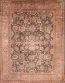 Fossil Black All-Over Muted Antique 9x11 Oushak Turkish Oriental Area Rug image 1