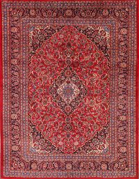 Floral Mashad Persian Hand-Knotted 8x11 Wool Area Rug