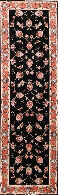 Wool Silk Floral Black Tabriz Persian Runner Rug 2x8