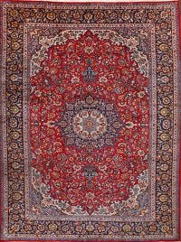 Floral Najafabad Isfahan Persian Red Area Rug 10x12