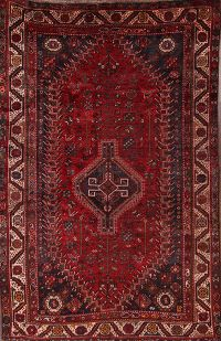 Antique 6x8 Ghashghaei Shiraz Persian Area Rug