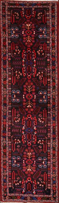 Traditional Floral Lilian Hamadan Persian Hand-Knotted Runner Rug 4x13